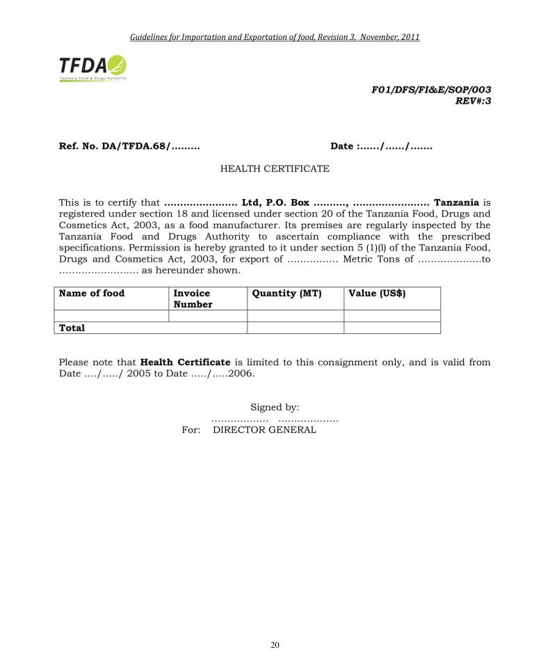 Food export clearance procedure through Dar es Salaam port