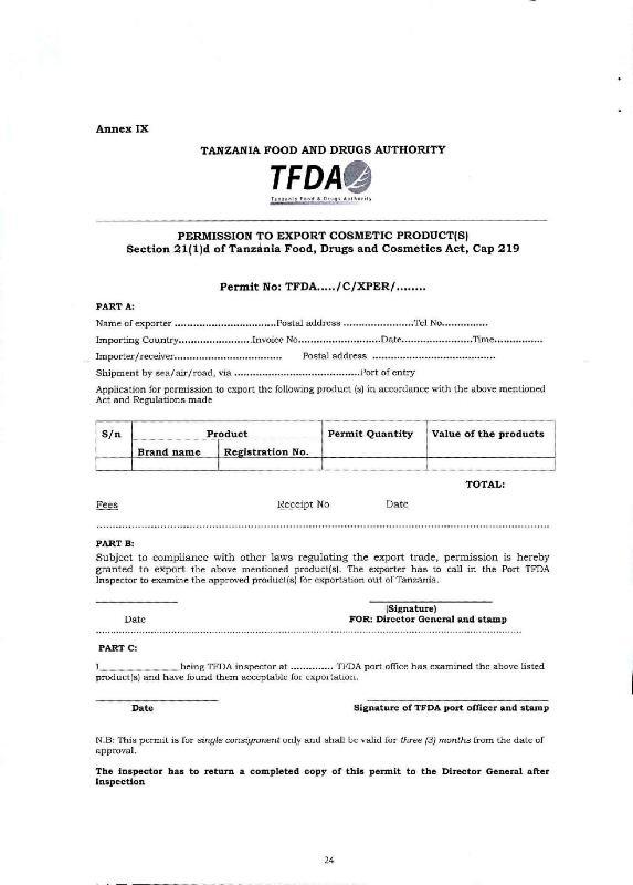 Cosmetics export clearance procedure through Dar es